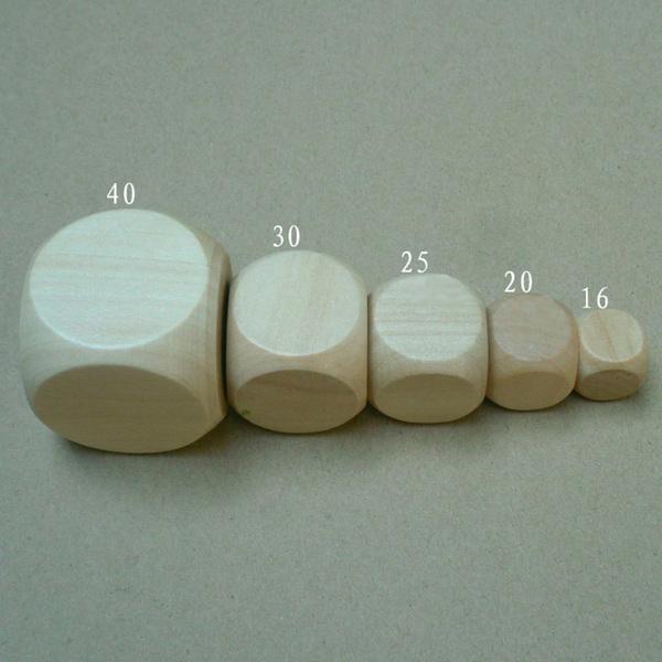 """Игральный кубик Деревянный (""""пустой"""", большой, 40мм) для применения на форсайтах"""