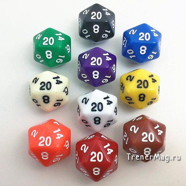 Игральный кубик 20 граней (D20, 24мм) для ведущего игр