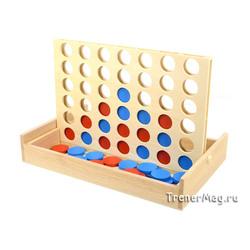 Игра Четыре в ряд (деревянная 23,5х15,5см)
