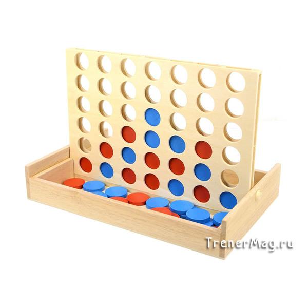 Игра Четыре в ряд (деревянная 23,5х15,5см) для пары на выработку стратегии