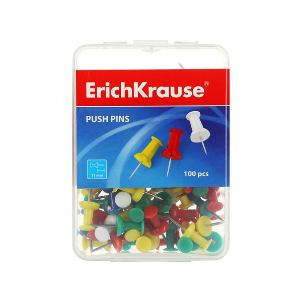 Булавки Эрих Краузе цветной наконечник 100шт. для работы учителей