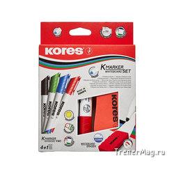 Набор маркеров с губкой для досок Kores 4цв. (пуля, 2-3мм)
