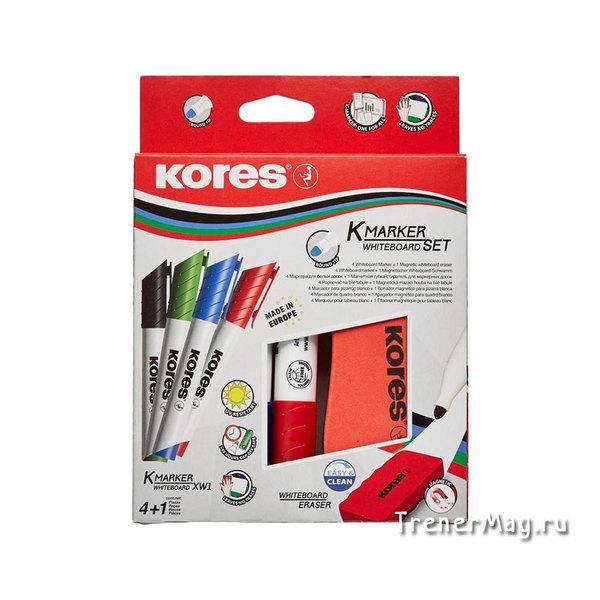 Набор маркеров с губкой для досок Kores 4цв. (пуля, 2-3мм) для бизнес тренинга - в магазине ТренерМаг