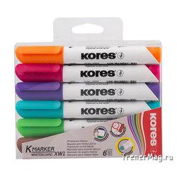 Набор маркеров Kores для белых досок (пуля, 6цв.)