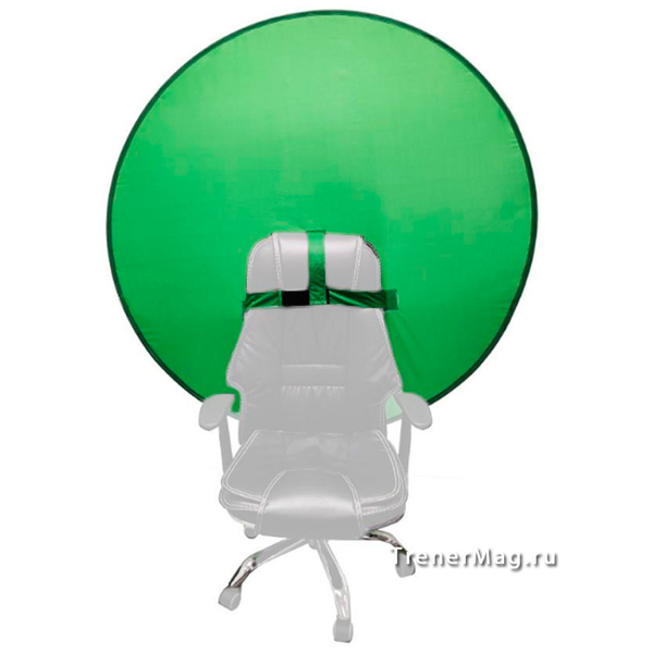 Круглый зеленый экран на изголовье кресла для гармонизации в бизнесе