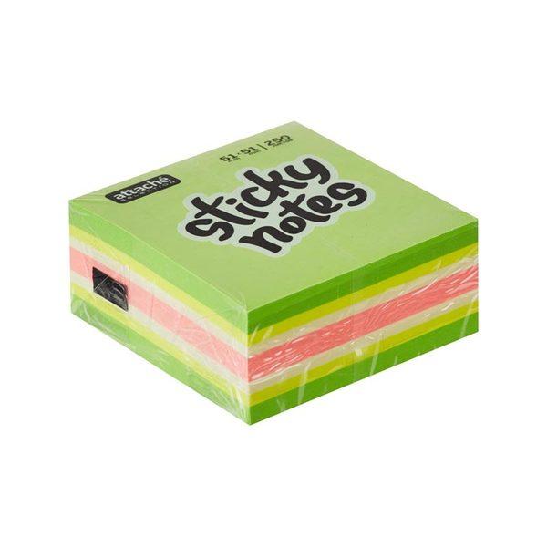 Блок стикеров Attache 51х51 мм, 5 пастельных неон цв., 250 л. для работы эксперта