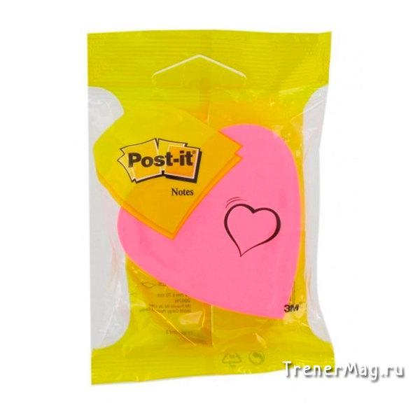 Клейкий блок Post-it Сердце (70х70мм, 3цв., 225л.) для скрам-мастера и его команды