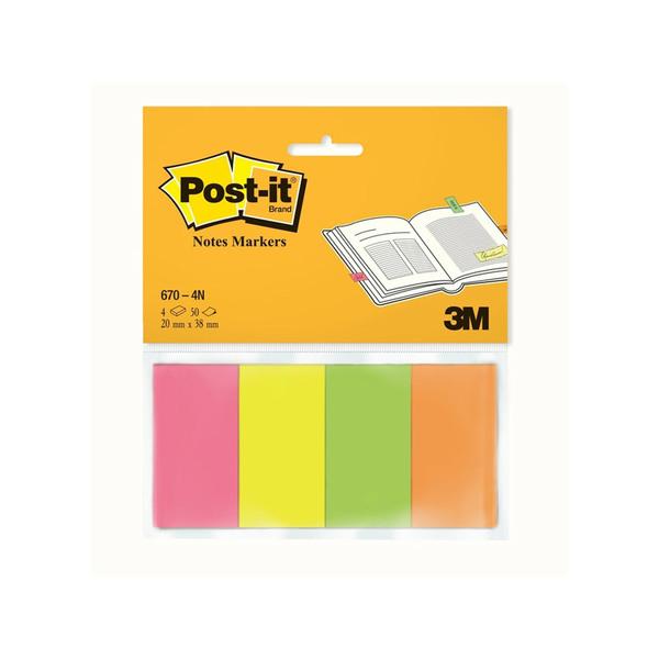 Закладки клейкие Post-it 20x38 мм, 4 цвета по 50 листов  для руководителей
